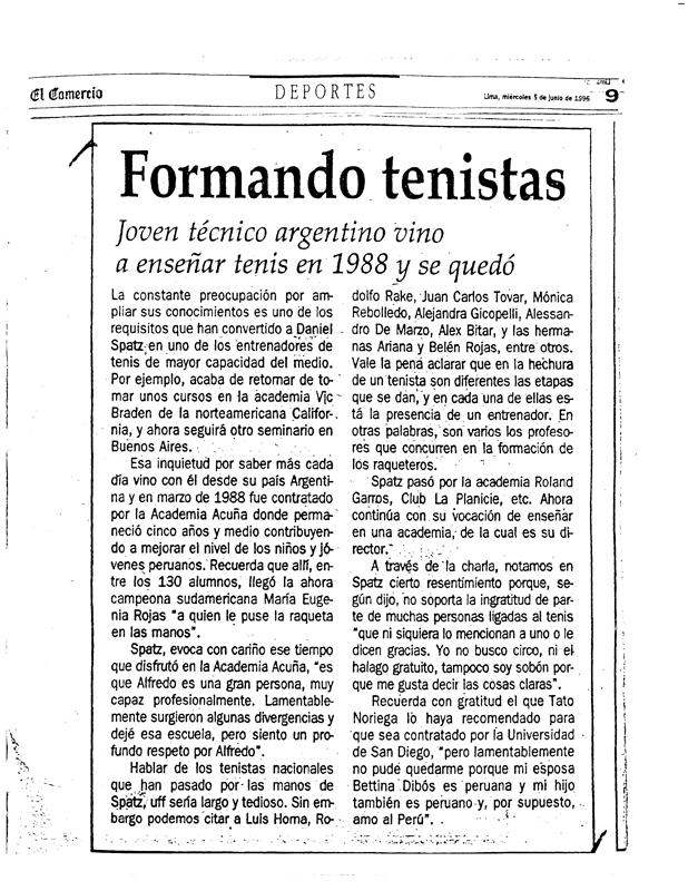 """Daniel en el diario """"El Comercio"""" – Peru"""